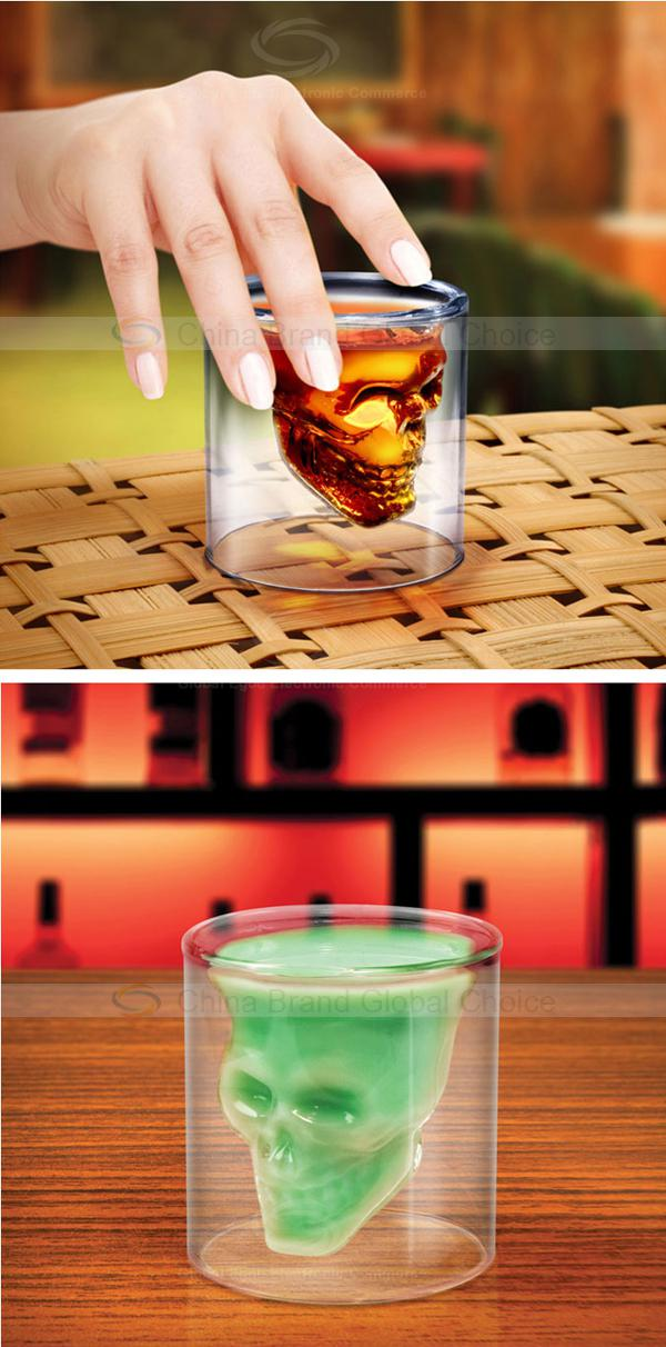 Fancy Crystal Skull Transparent Glass Cup