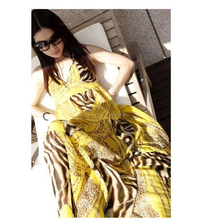 Leopard Pattern Spaghetti Strap Plunging Neck Backless Yellow Imitated Silk Maxi Dress For Women