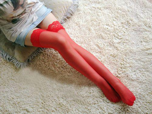 Sexy Lace Bowknot Pattern Perspective Bow Stockings For Women