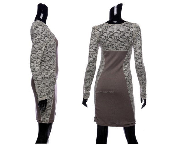 Stylish V-Neck Bodycon Floral Pattern Lace Splicing Long Sleeves Women's Club Dress