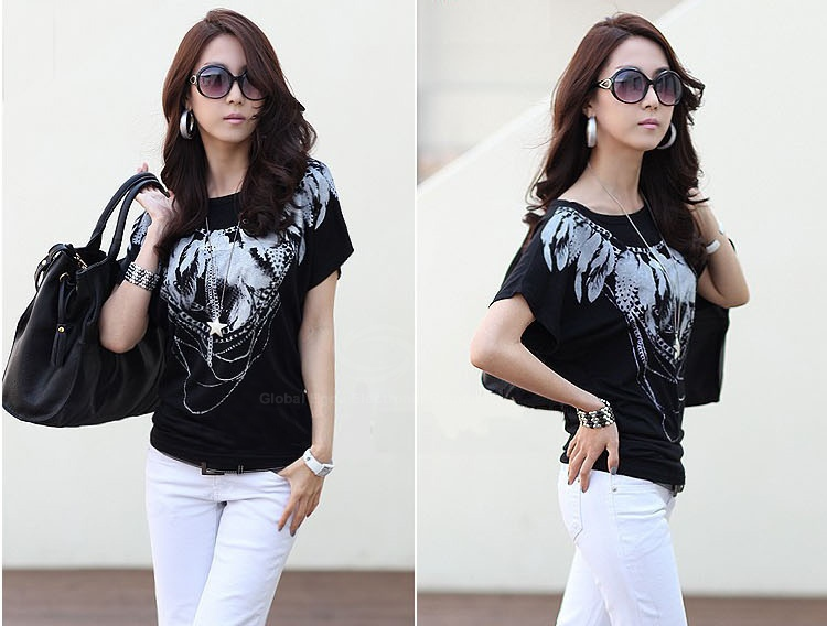 Fashion Scoop Neck Short Sleeves Feather Print Cotton Blend Women's Spring T-Shirt