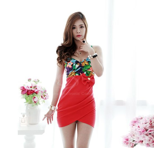 Sexy Floral Print Splice Bowknot Embellished Women's Club Dress