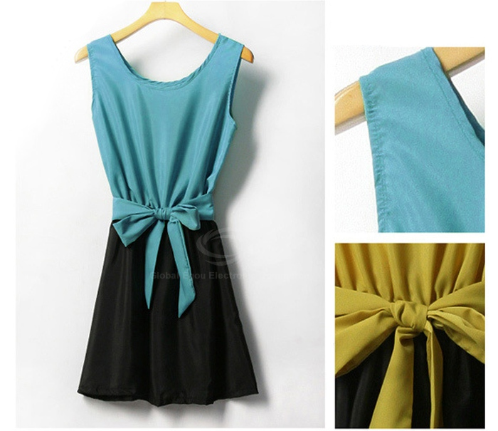 Stylish Scoop Neck Bow Tie Color Block Splicing Women's Chiffon Dresses