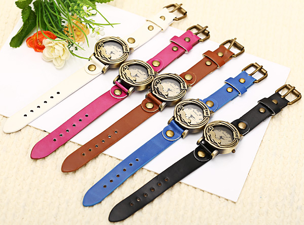 WoMaGe Quartz Watch 12 Numbers Indicate Leather Watch Band for Women - Brown