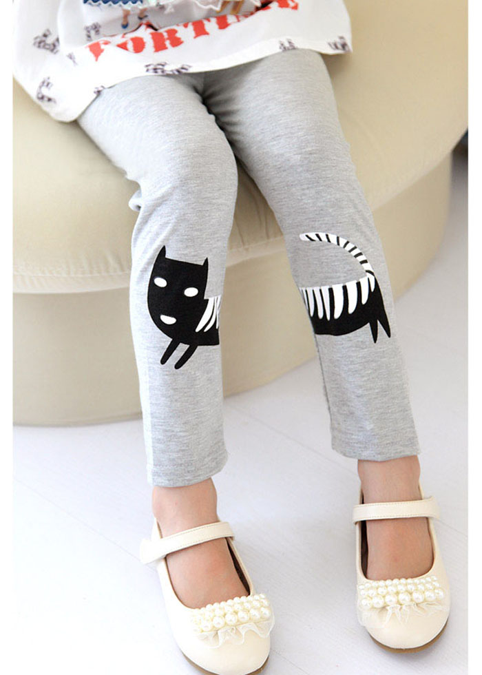 Fashionable Style Mid-Waisted Kitten Puzzle Pattern Design Leggings For Kids