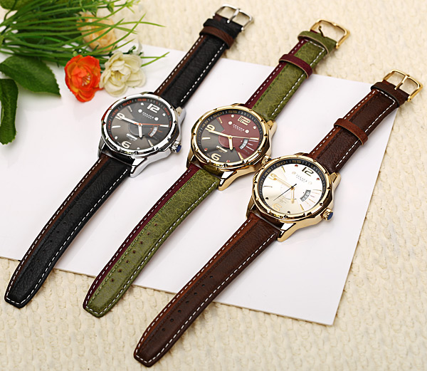 Julius Quartz Watch with Numbers Strips Dots Indicate Leather Watch Band for Men