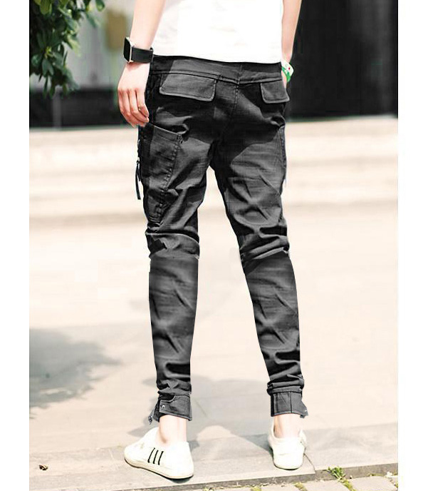 Blue Fashion Low Waist Lace-Up Narrow Feet Polyester Pants For Men ...