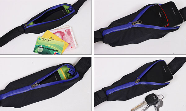 Practical Water Resistant Zippers Waist-bag Stretchable Pockets Outdoor Purses with Adjustable Strap