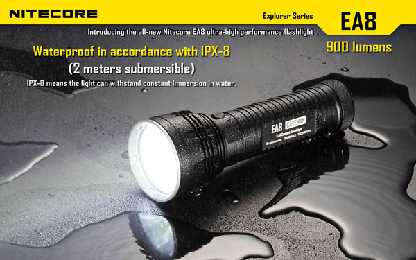 Low Power Consumption EA8 Cree XM-L U2 900 Lumens 6 Modes Flashlight - White Light