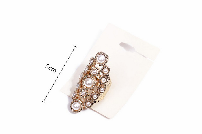 Gorgeous Faux Pearl Design Openwork Alloy Knuckle Ring For Women
