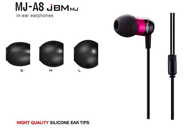 JBMMJ-A8 Round Cable Hands Free High Resolution Sound Noble In-ear Earphone/Headphone with In-line Mic - Rose