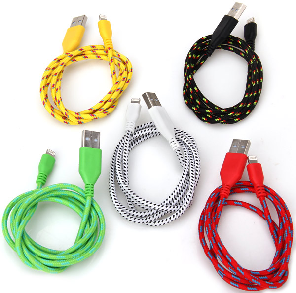1M Nylon Fabric Braided Pattern 8 Pin USB Cable for iPhone 5 / 5C / 5S