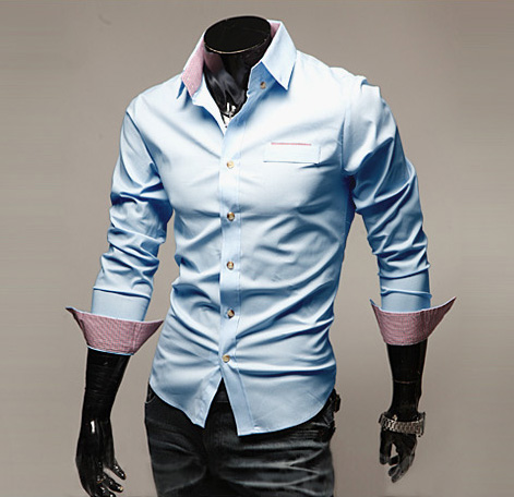 Korean Fashionable City Style Shirt Collar Long Sleeves Slimming Cotton Shirt For Men