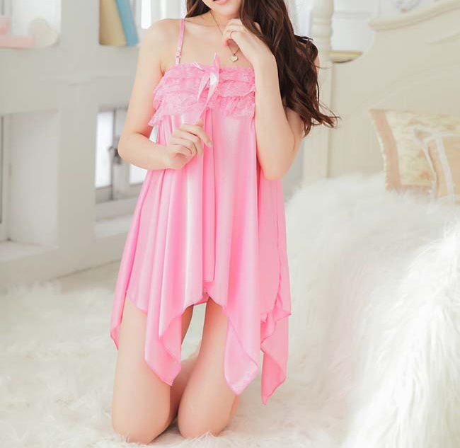 Alluring Spaghetti Strap Sexy Style Solid Color Spandex Women's Baby Dolls