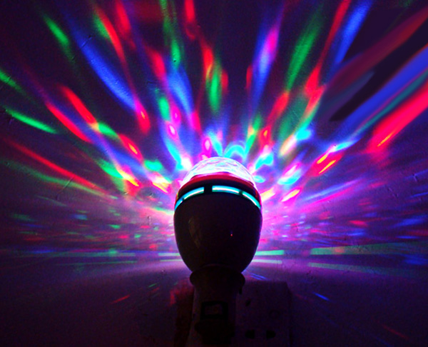 E27 AC85-260V Colorful 3W LED Rotating Lamp Stage Light Party Light
