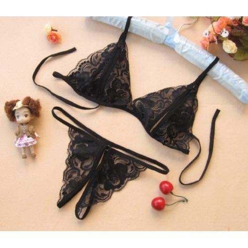 Lace Embroidered Translucent Sexy Women's Bra Set