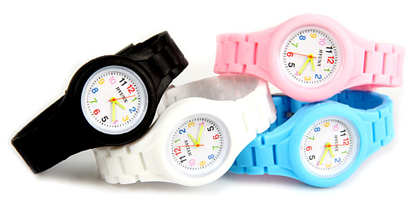 HYUNX Children Watch with 12 Arabic Numbers Indicate and Silica Gel Band