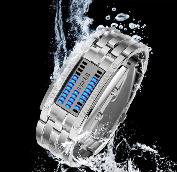 Valentine Waterproof Watch with Blue Light Time-Date Indicate Steel Watchband for Couple