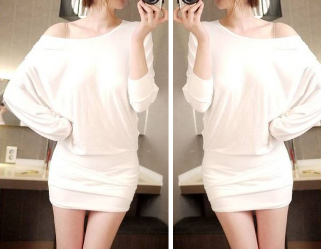 Solid Color Sexy Style Boat Neck Packet Buttock Bat-Wing Sleeves Women's Dress
