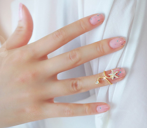 Diamante Starfish Embellished Spiral Alloy Ring