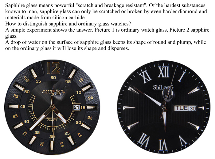 Shilong Sapphire Mirror Original Japan Movt Watch with Analog Indicate Date and Day Steel Watchband for Couple