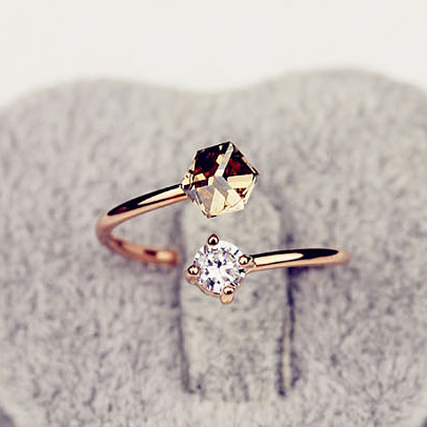 Fashion Faux Crystal Embellished Cuff Ring For Women