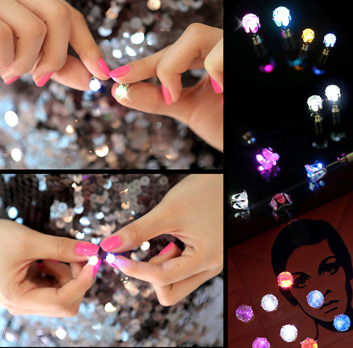 Fashion and Sweet Zirconium Drill Flashing LED Earrings for Women