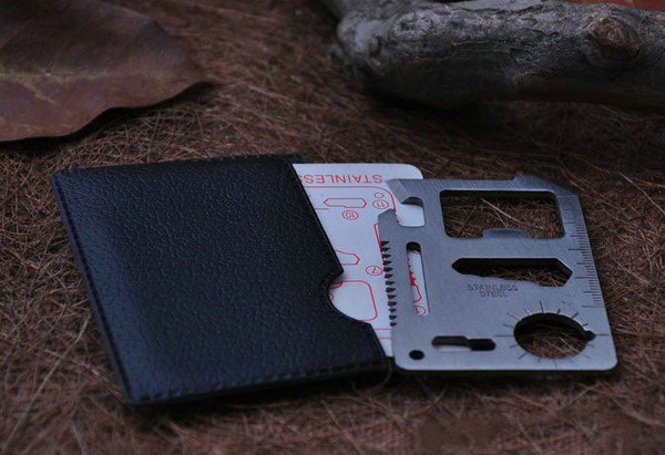 Multi-function Outdoor Knife Saber Card with Black PU Sheat Case