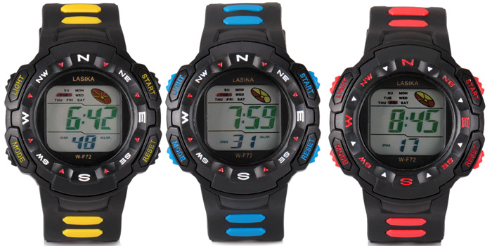 Cool Waterproof LED Watch with Indicate Day/Date and Rubber Watchband