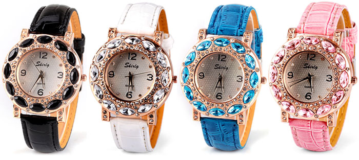 Luxury Quartz Watch with Diamonds Analog Indicate Leather Watch Band for Women