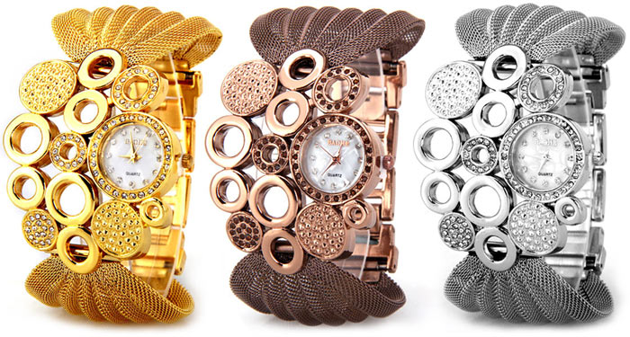 Luxury Quartz Watch with Diamonds and Loops Design Round Dial Steel Mesh Strap for Women