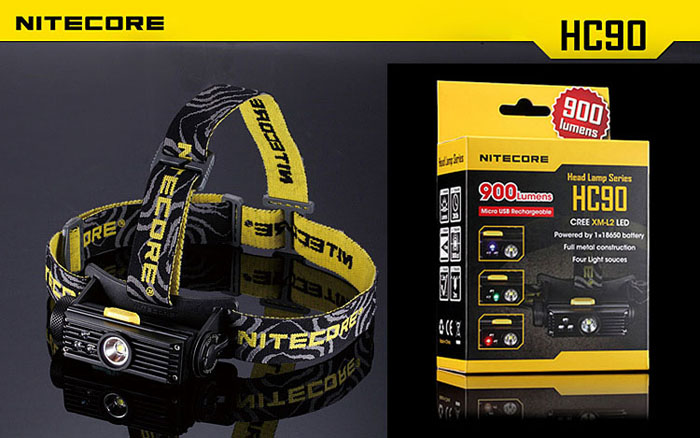 Nitecore HC90 Cree XM-L2 T6 LED 900 Lumens 3-Mode LED White Light Headlamp