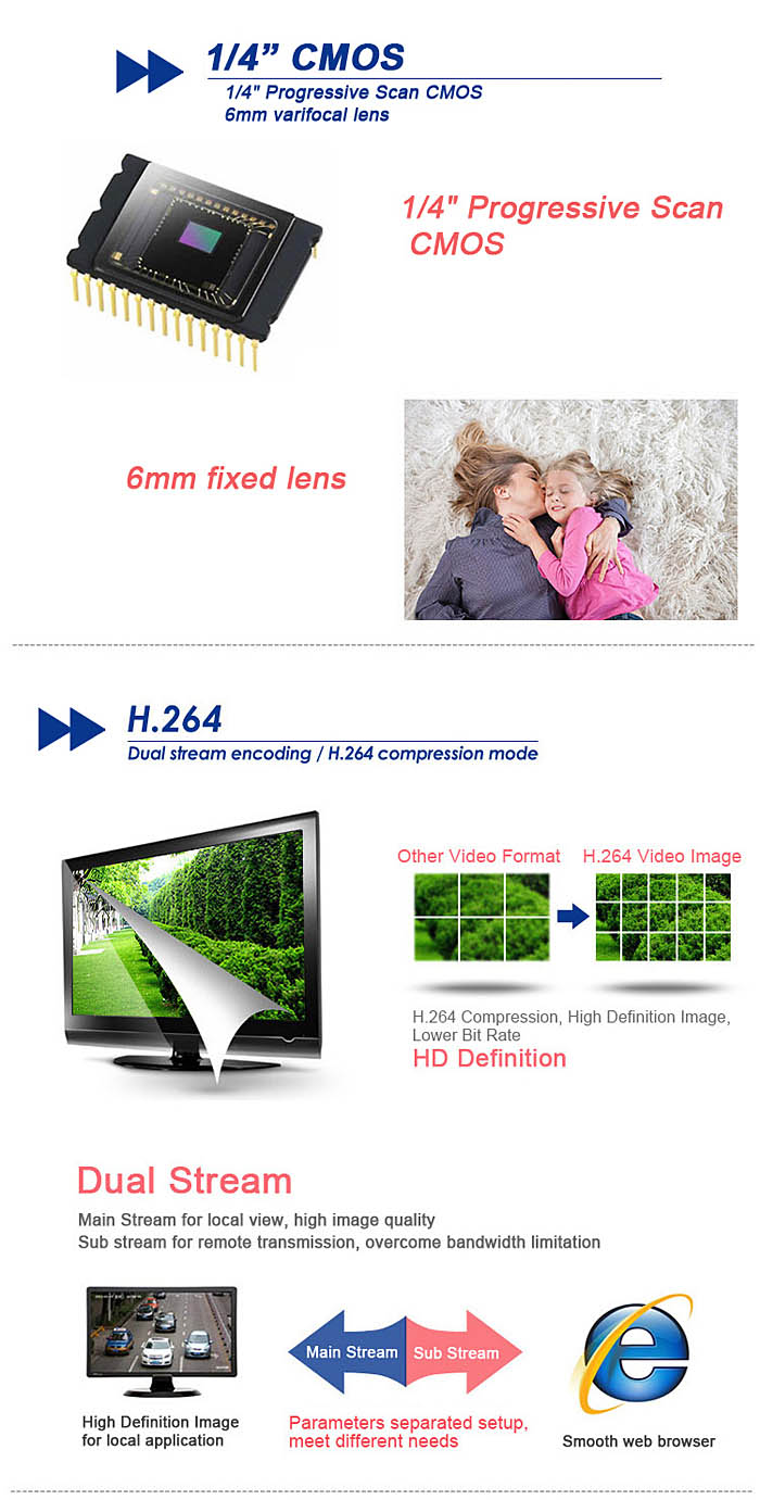 ESCAM Q630M H.264 HD 720P IP Camera IR Night Vision CMOS Weatherproof Shell Support iPhone / iPad / Android Phone Remote Control