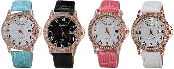 Luxury Quartz Watch with Analog Indicate Diamonds Leather Watch Band for Women