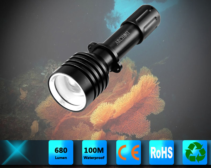 Archon D10U Diving Torch Cree XM-L U2 860lm 3-Mode 18650 Battery Powered LED White Light Flashlight