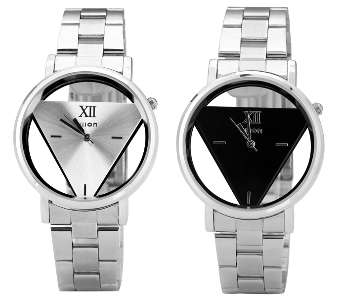 Superb Quartz Watch with Triangle Design Analog Indicate and Steel Strap Watchband for Women