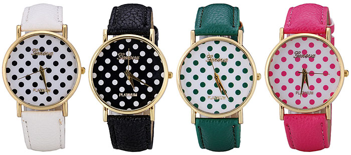 Geneva Delicate Quartz Watch with Analog Indicate Dots Leather Watch Band for Women