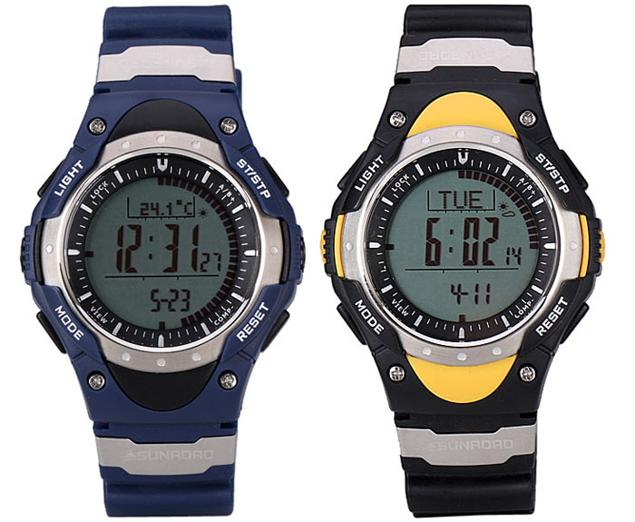 SUNROAD Fashion LED Sports Digital Altimeter Watch with Barometer Compass Thermometer Date and Rubber Watchband