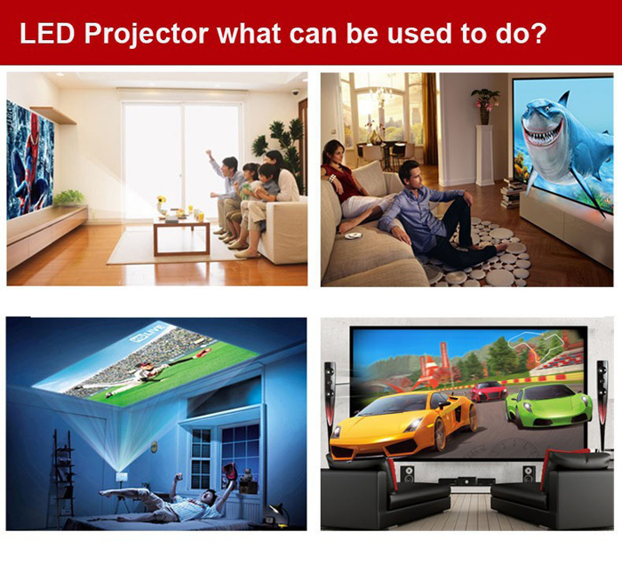 STA-ProHome PH5 LED Projector Eink 5.0 Inch LCD TFT Panel 4:3 / 16:9 Aspect Ratio 2000:1 Contrast 2500 Lumens with HDMI USB Inputs EU Plug