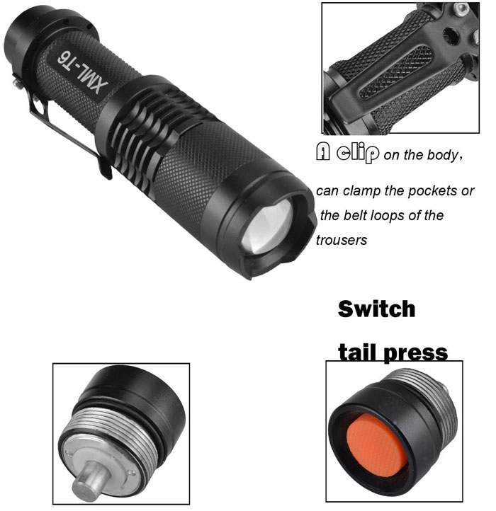 SingFire SF-118B Mini Zooming Torch Cree XM-L T6 800lm 3-Mode 18650 Battery Powered LED White Light Zooming Flashlight