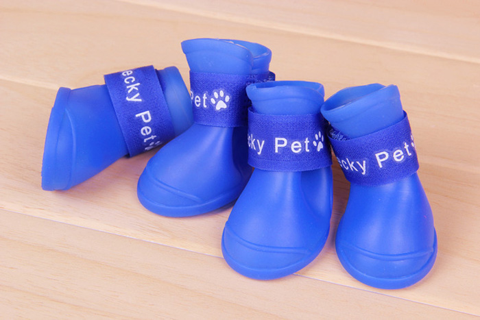 4 PCS Super Soft Fireproof Rainproof Pet Rain Shoes Boots