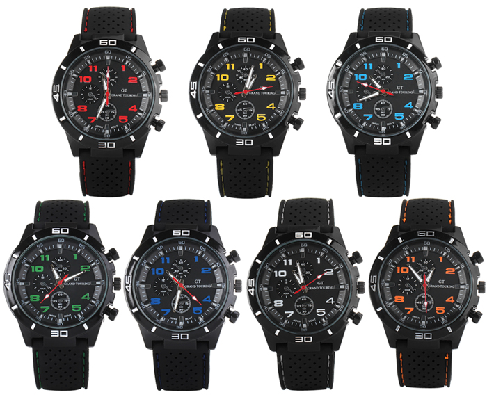Fashion Sports Quartz Watch Analog Disiplay Rubber Watchband