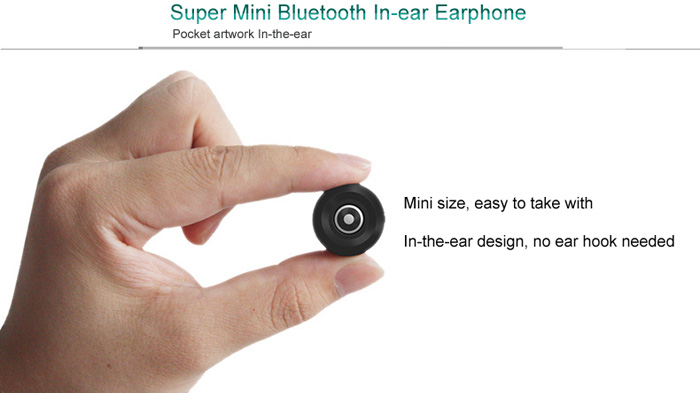 ZY-S8 Super Mini Stereo Wireless Bluetooth Earphone Hook Free In-ear Headset Music Palying with Mic for Smartphones