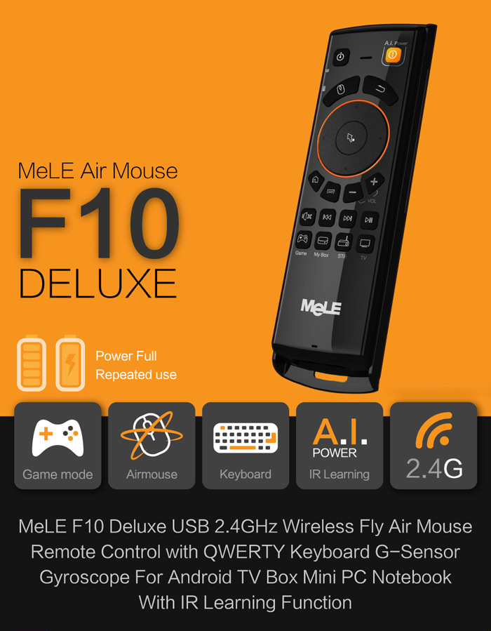 Mele F10 Deluxe 2.4GHz Multi-function Wireless Air Mouse for Mini PC Notebook with IR Learning Function