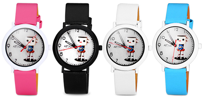 Christmas Present Fashional Quartz Watch with Mark Cup Pattern Leather Watch Band for Children