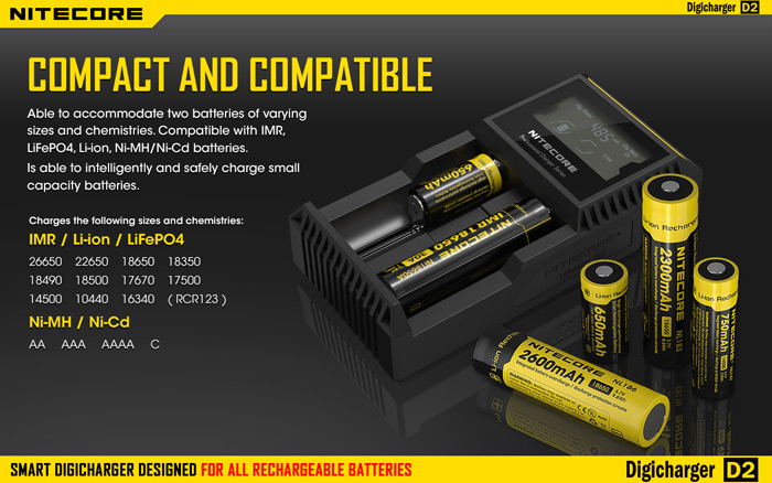 Nitecore D2 Detective Charger with LCD Screen for IMR Li-ion LiFePO4 NiMH NiCd Batteries
