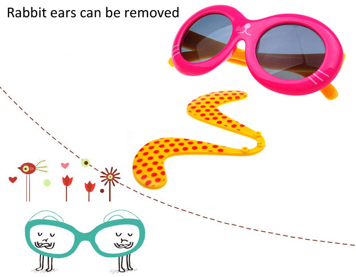 Oulaiou 2285 Polarized Sunglasses TR90 Silica Glasses with Rabbit Ears Pattern Full-rim Eyewear for Children