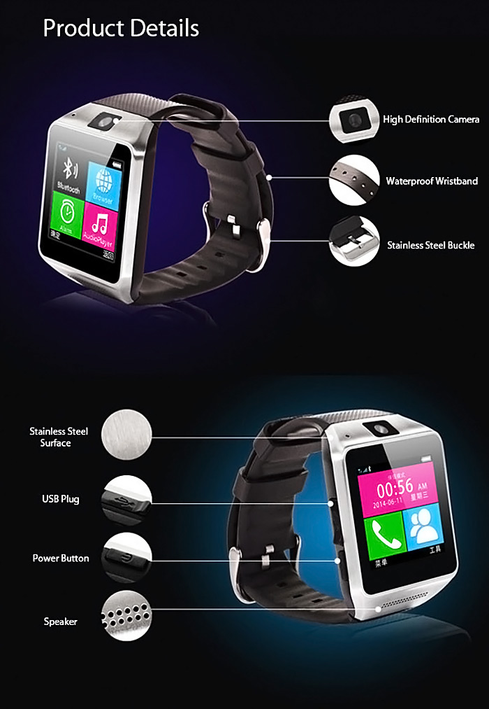 Otium Gear Smart Watch Phone with 1.5 inch Touch Screen Single SIM Bluetooth Camera MP3 MP4