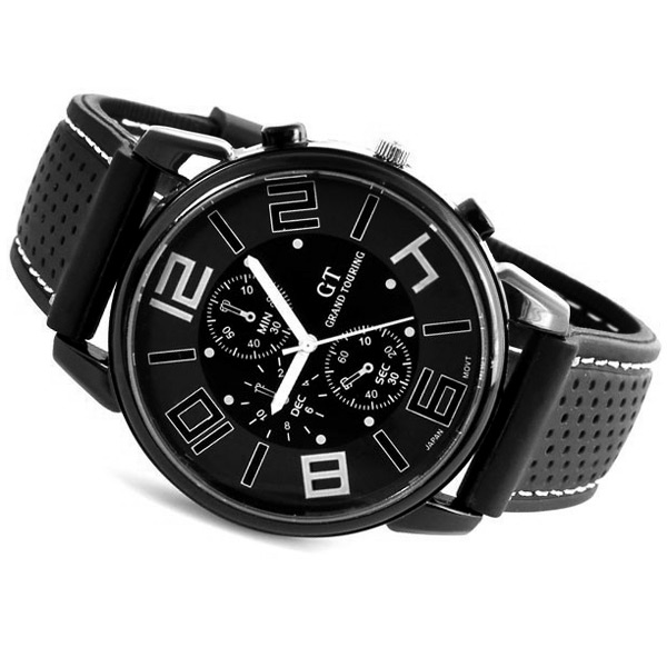 GT Sports Watch Men Quartz Military Wristwatch Japan Movt Round Dial Silicone Band