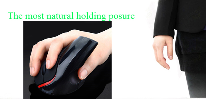 E40 2.4GHz 5 - Buttons 1200DPI Wireless Vertical Mouse for Home Office